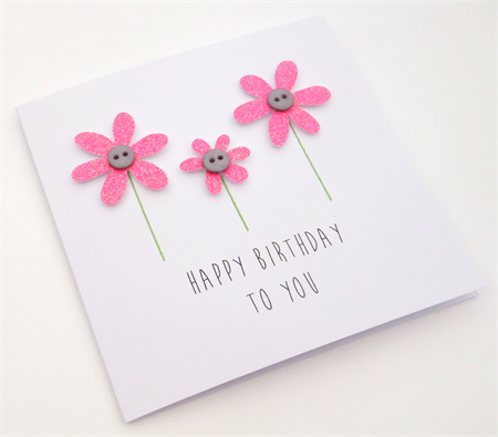 Handmade Birthday Card - Happy Birthday to you - Bubblegum Pink
