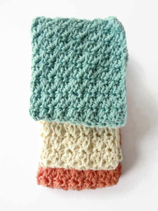 Three crochet washcloths adult newborn baby shower gift cotton spa ...