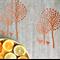 Screenprinted Tea Towel. Beautiful EcoNatural 100% Linen. Orange on Natural.