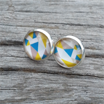 Glass dome stud earrings - Geometric, blue/yellow/white/grey
