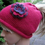 Ponytail Beanie Messy Bun Hat made to order in your favourite colour