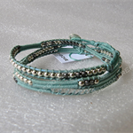 Met. mint leather 3x wrap bracelet| 925 silver & burnished silver beads handmade