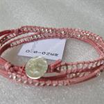Unique 925 matte silver bead+crystal 3x wrap bracelet, handmade