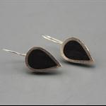 Black Sterling silver resin Earrings