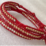 Moroccan red leather 3x wrap bracelet w sterling silver&14K gold beads|handmade