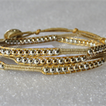 Unique wrap bracelet, 925 silver & gold beads|met. gold leather cord|adjustable