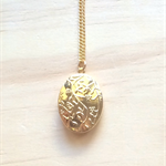GOLD FLORAL LOCKET PENDANT NECKLACE - FREE SHIPPING WORLDWIDE