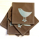 Screenprinted napkins, set of 4. Soft & Bouncy 100% Linen used. Blue on Chops.