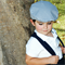 Boys Driving Cap Vintage Hat. Grey and white check - in your choice of size