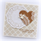 wedding card bird and paper heart and doily