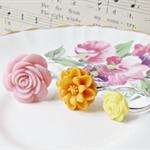 Gizela Children's Ring Set. Flower Pink Orange Yellow Pastel Trio Girls