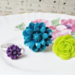 Elsha Children's Ring Set. Flower Teal Purple Apple Green Trio Girls
