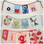 """4-letter-name"" bunting banner flag decorations (custom orders, one-of-a-kind)"