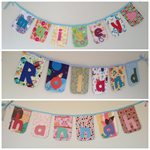 """6-letter-name"" bunting banner flag decorations (custom orders, one-of-a-kind)"