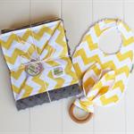 Chevron baby gift set. Blanket, bib & teether. Great unisex baby shower gift!