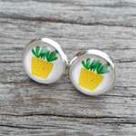 Glass dome stud earrings - cactus plant