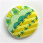 Fun-tastic Fabric Patchwork Brooch - Citrus Chevron Green Teal Dream.