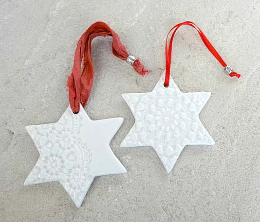 Personalised Christmas decoration white stars ornament ...