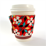 Coffee Cup Cuff/ Cosy/ Sleeve - White Desert Flowers on Tomato Red