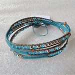 925 silver & aqua crystal with natural leather, 3x wrap bracelet, handmade
