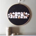 A GOLDEN STRAND- little wooden houses on hoops