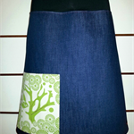 Denim Skirt with Bird, Tree & Bamboo Stretch Waist