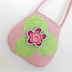 Girls purse - pink with appliqué and crochet motifs