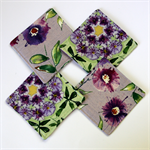 4 x Reversible Fabric Coasters - Purple & Green Wisteria Flowers