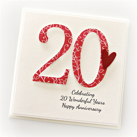 20th anniversary custom card personalised wedding for What do you give for a 20 year anniversary