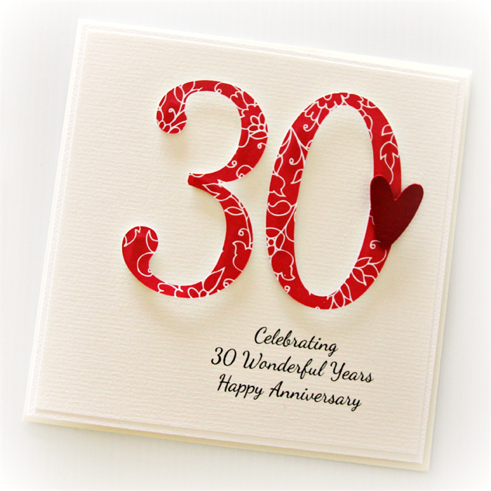 30th anniversary custom card personalised wedding husband wife pearl