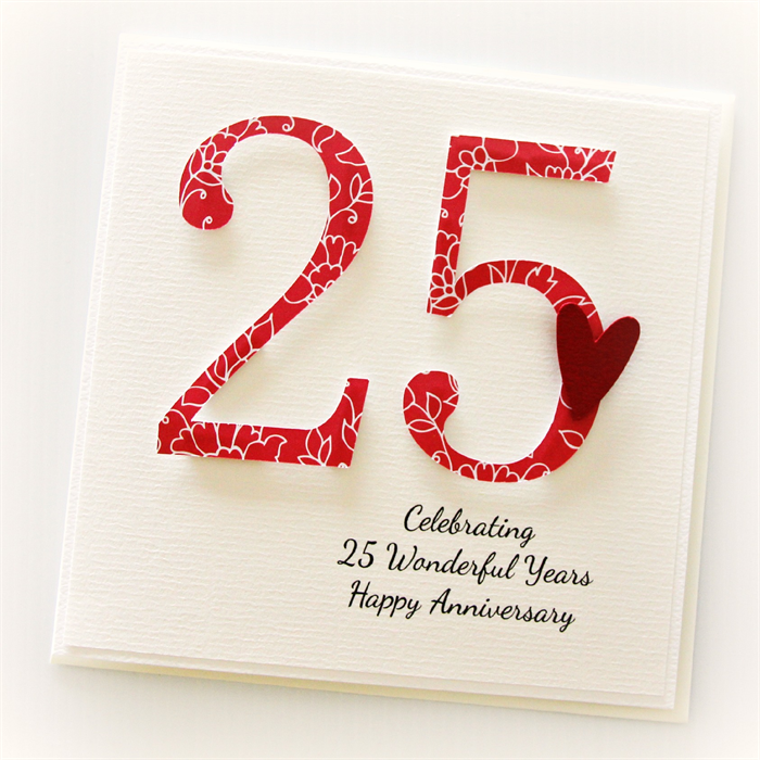 25th Wedding Anniversary Gifts For Wife: 25th Anniversary Custom Card Personalised Wedding Silver