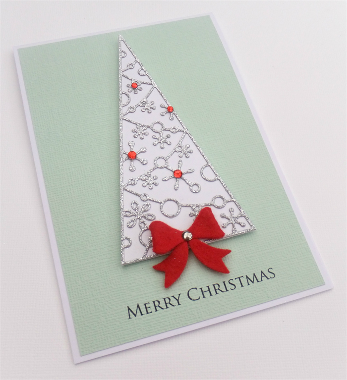 Handmade Christmas Card Merry Glitter Tree