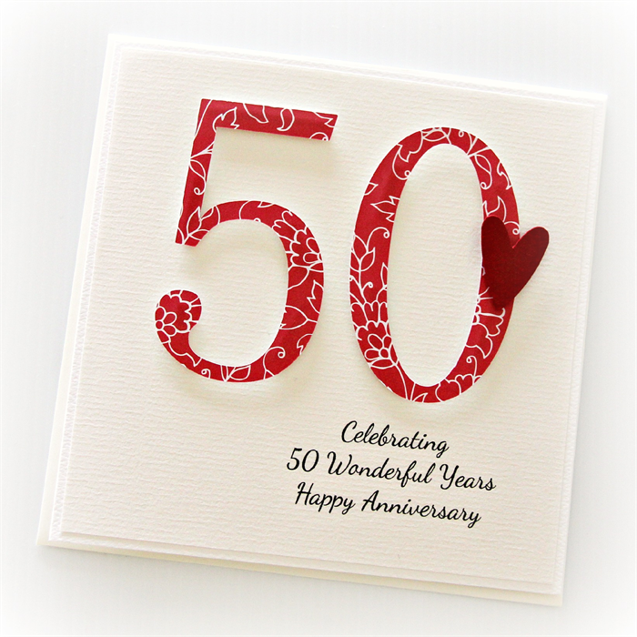 personalised 50th anniversary card wedding anniversary golden the