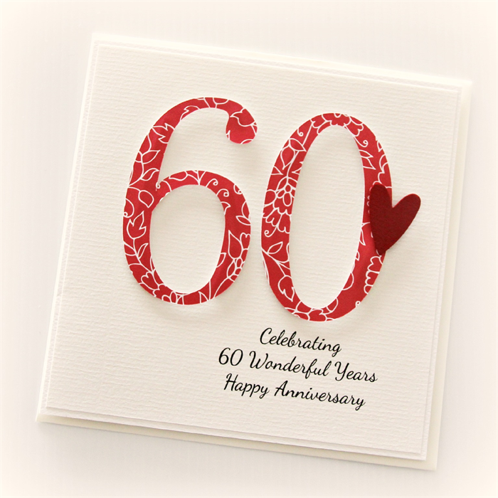 60th Anniversary Custom Card Personalised Wedding Husband Wife