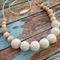 Crochet Bead 'Linen' Teething Necklace | Nursing Necklace
