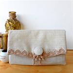 Fold-over clutch purse - pure linen with crochet trim