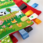 FREE POST * HAPPY FARM Security Blanket Blankie Taggie Toy + Taggie Saver