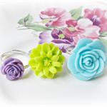 Keelia Children's Ring Set Flower Trio Pastel Blue Green Purple Girls