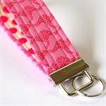 Wrist Key Fob - Bright Pink Kanagroos & Polka Dot Spots