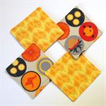 4 x Reversible Fabric Coasters - Golden Yellow & Orange Australia visions