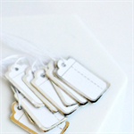 ☆ Tiny Retro {50} Metallic Silver Edged Tags Labels Wedding Christmas Gift Wrap