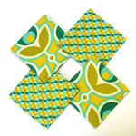 4 x Reversible Fabric Coasters - Big Green Blossoms in the hourglass.