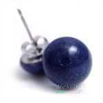 Navy Blue Metallic Dome studs / earrings