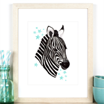 Zebra & Stars A4 Art Print