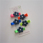 Set of 5 Neon and Denim Hair Clips - Fluro