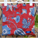 Cotton linen blend tote bag | Trumpet flowers in blue on red