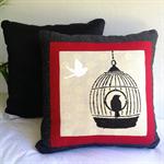 Birdcage Handprinted Cushions
