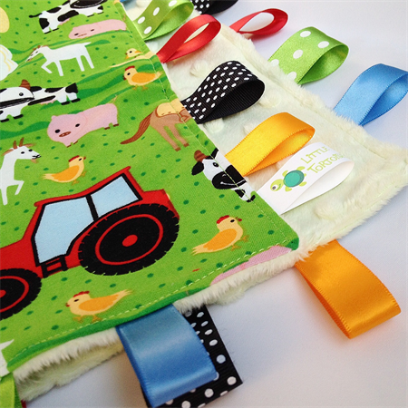 FREE POST * HAPPY FARM TRACTORS Security Blanket Taggie Toy + Taggie Saver