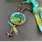 Tree landscape, painted focal pendant, knotted waxed cord, sari silk necklace
