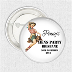 "Hens Party favours. New design ""Cowgirl"" 10 badge pack"